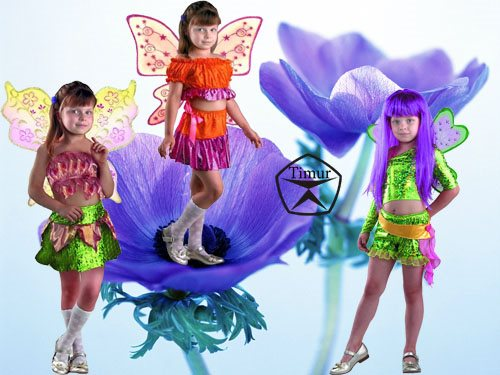 Детский шаблон для фотошопа - Три костюмчика для Бабочки