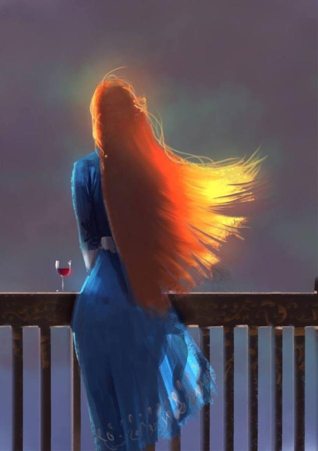 Рыжие волосы в лучах солнца 1