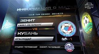 Футбол. Чемпионат России 2014-2015 (14 тур). Зенит - Кубань [22.11] (2014) SATRip от GeneralFilm