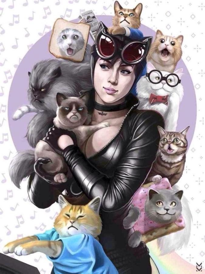 Женщина-кошка с кошками 1