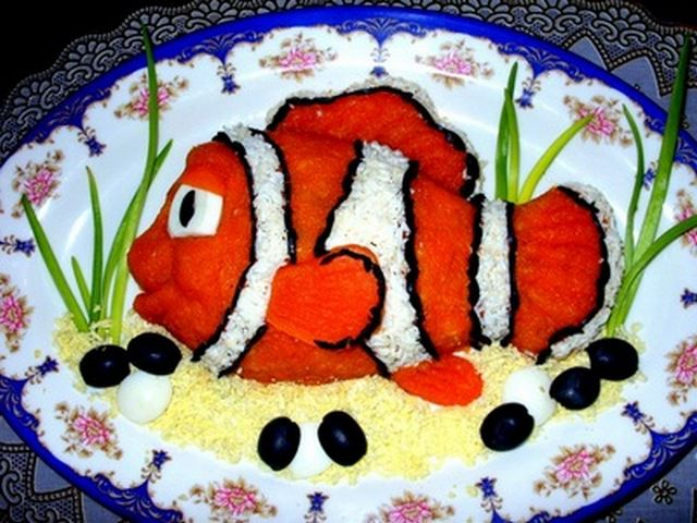 Салаты из рыбы оформление