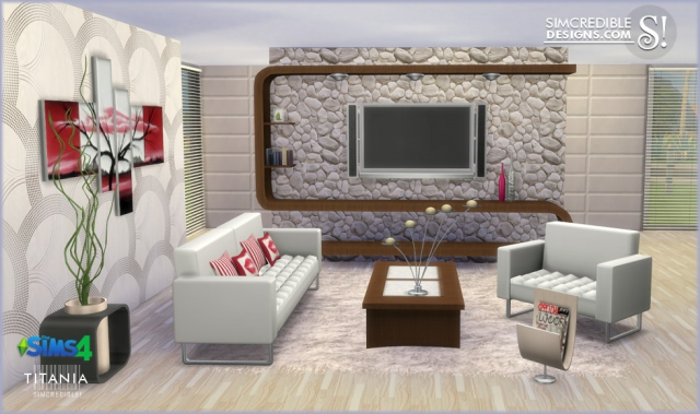 Titania livingroom by simcredible sims 4 for Sims 4 living room ideas