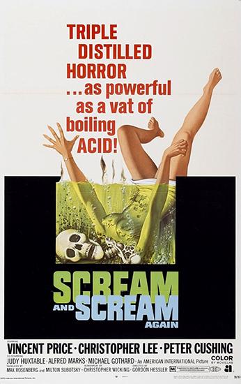 Кричи снова и снова / Крик и снова крик / Кричи и опять кричи / Scream and Scream Again (Гордон Хесслер / Gordon Hessler) [1970, США, ужасы, фантастика, триллер, криминал, HDTVRip] DVO (НТВ+)
