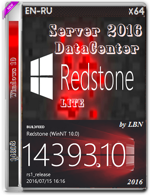 Windows Server 2016 DataCenter 14393.10 LITE by Lopatkin (x64) (2016) Rus/Eng