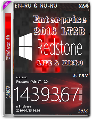 Windows 10 Enterprise 2016 LTSB 14393.67 LITE & MICRO by Lopatkin (x64) (2016) Rus/Eng