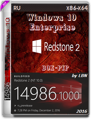 Windows 10 Enterprise 14986 rs2 BOX-PIP 2x1 by Lopatkin (x86/x64) (2016) Rus