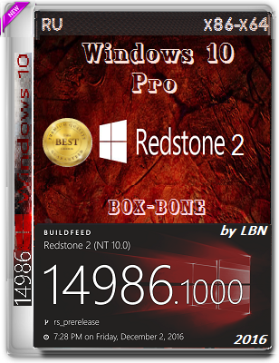 Windows 10 Pro 14986 rs2 BOX-BONE 2x1 by Lopatkin (x86/x64) (2016) Rus