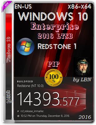 Windows 10 Enterprise 2016 LTSB 14393.577 PIP by Lopatkin (x86/x64) (2016) Eng