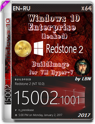 Windows 10 Enterprise (leaked) 15002.1001 BuildImage for VM Hyper-V by Lopatkin (x64) (2017) Rus/Eng