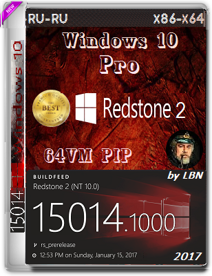 Windows 10 Pro 15014.1000 rs2 by Lopatkin (x86-PIP & x64-PIPvm) (2017) Rus