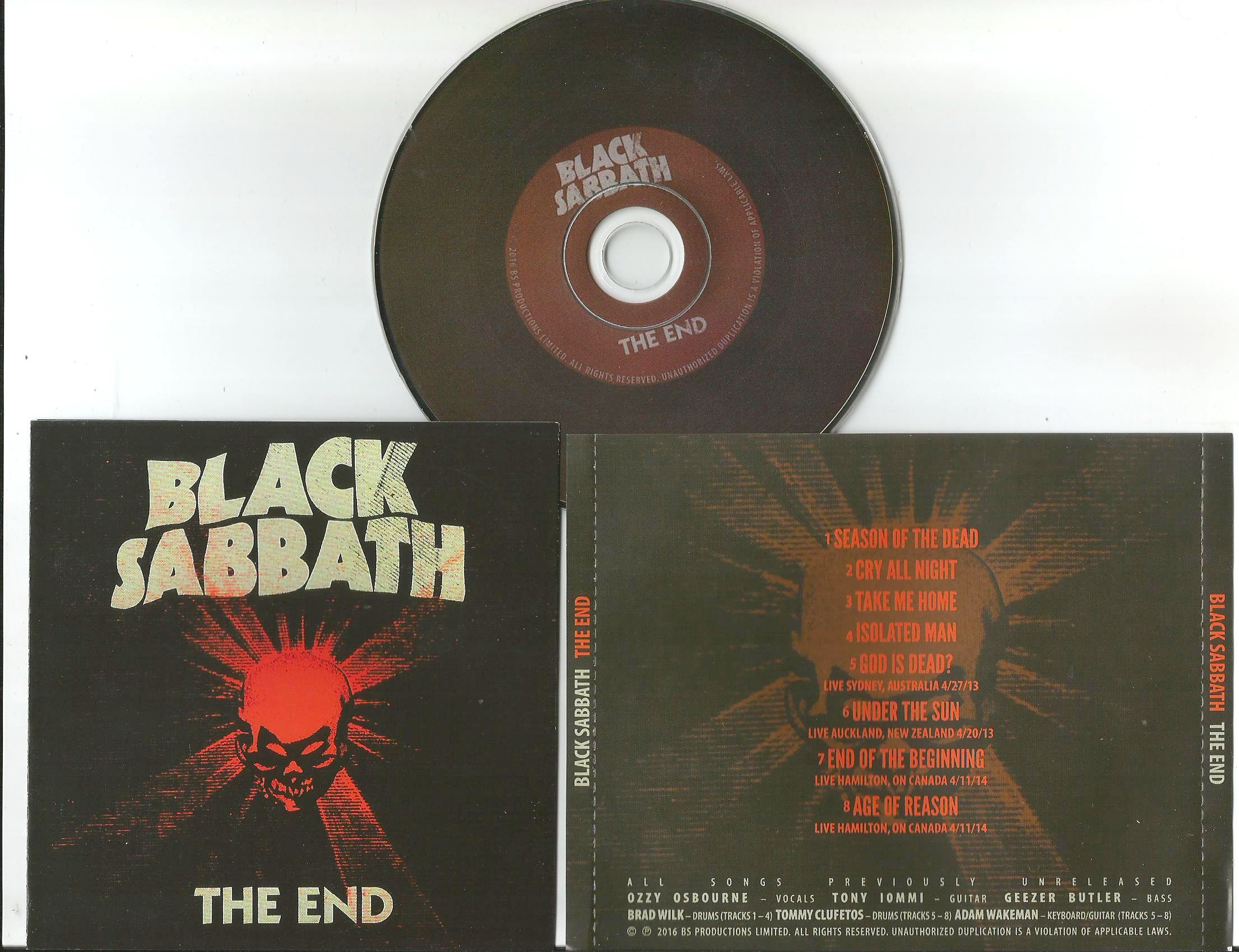 black sabbath the end (3panel booklet with lyrics, brown label disc)
