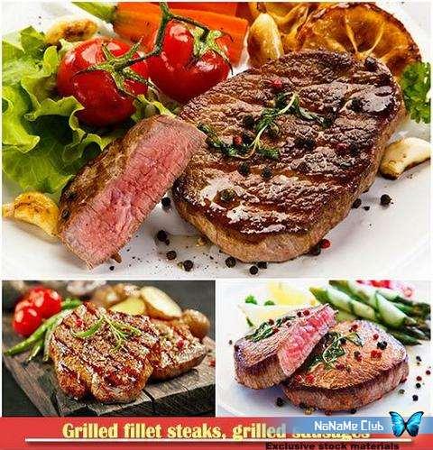 Растровый клипарт - Fotolia - Grilled fillet steaks, grilled sausages [JPG]