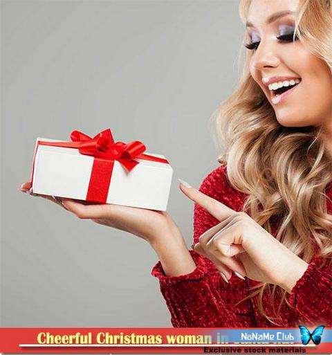 Растровый клипарт - Fotolia - Cheerful Christmas woman in santa hat [JPG]
