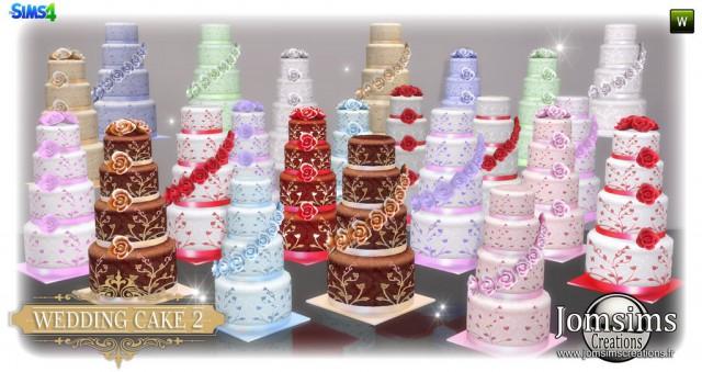 Sims 4 Wedding Cake.Svadebnye Torty Wedding Cake Set 2 By Jomsims Dekorativnaya Eda