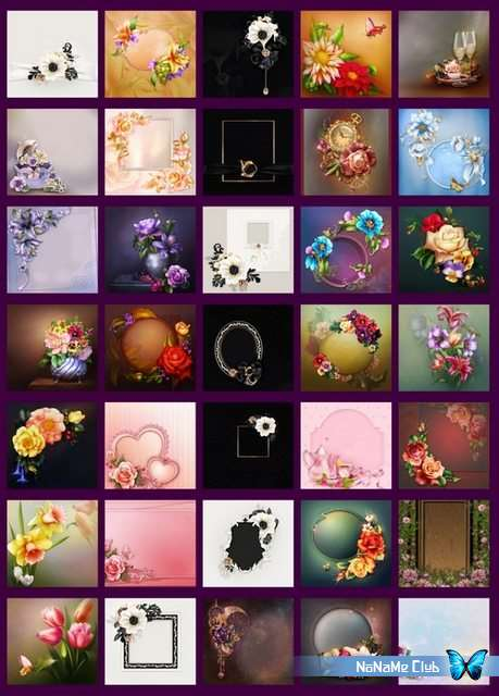Фоны - Цветочные фоны для открыток и пригласительных [JPG, PNG]