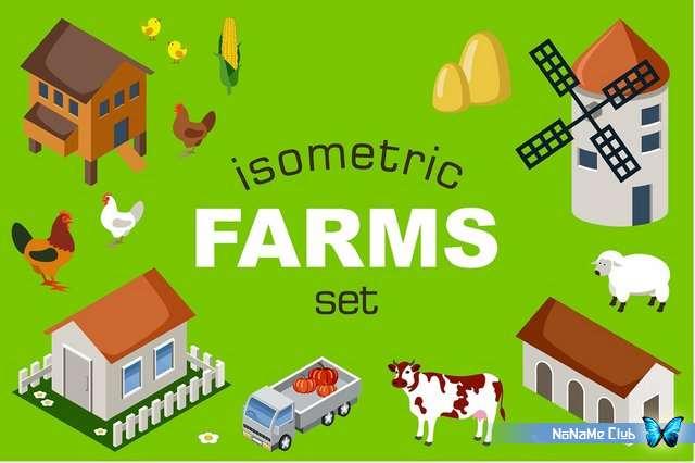 Клипарт - Creative Market - Farm toy blocks isometric set - 595726 [PSD, EPS]
