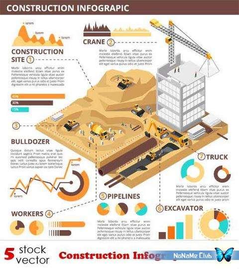 Векторный клипарт - Construction Infographics Set 7 [AI]