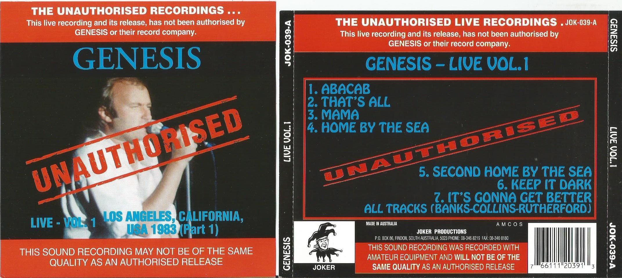 Live vol  1 (los angeles, ca, usa 1983 part 1)(soundboard) de Genesis, CD  chez apexmusic