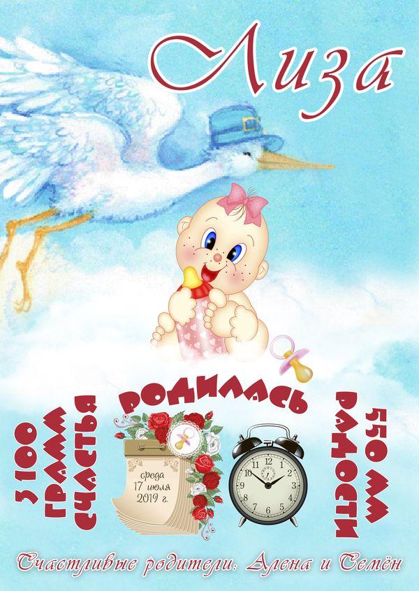 Открытка-плакат с днём рождения (PSD)