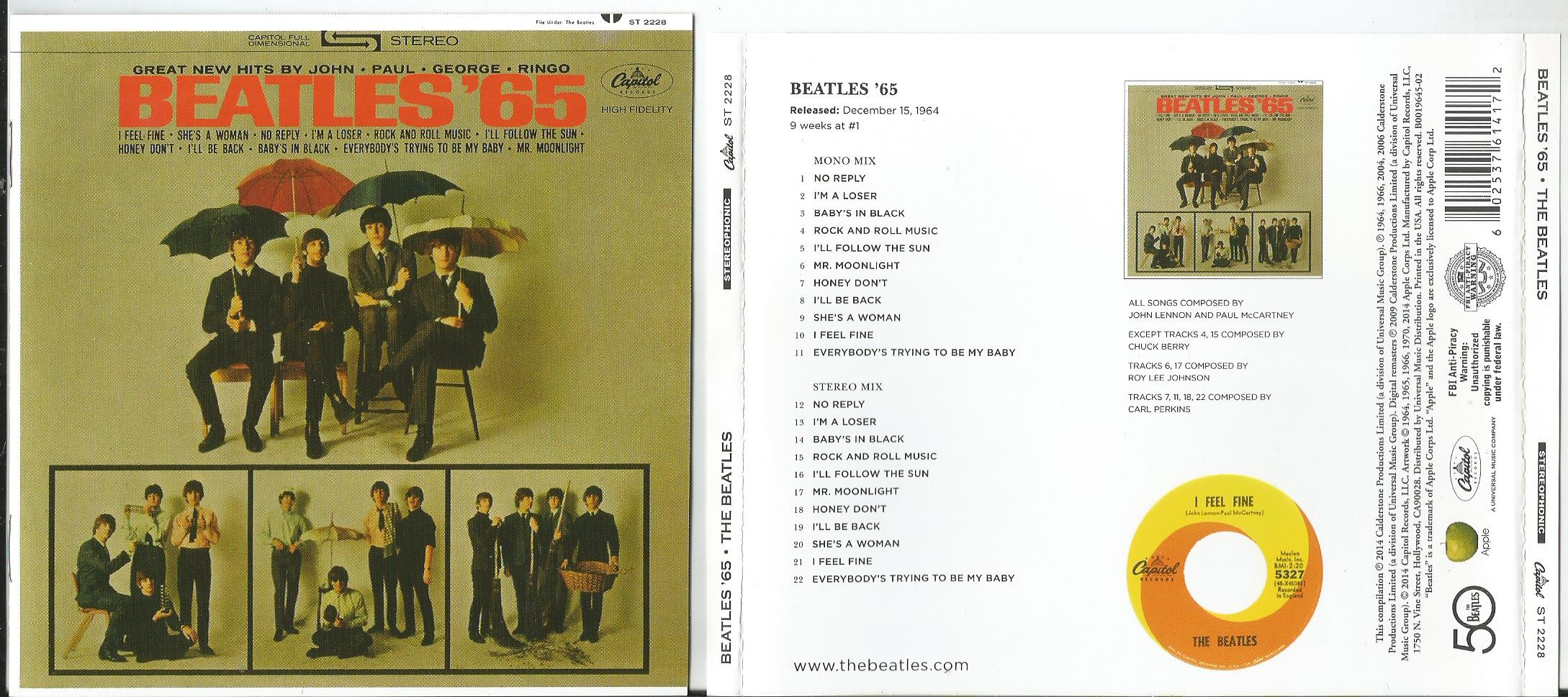 BEATLES, THE BEATLES '65 (2014 release, mono + stereo mixes, 8 page booklet)