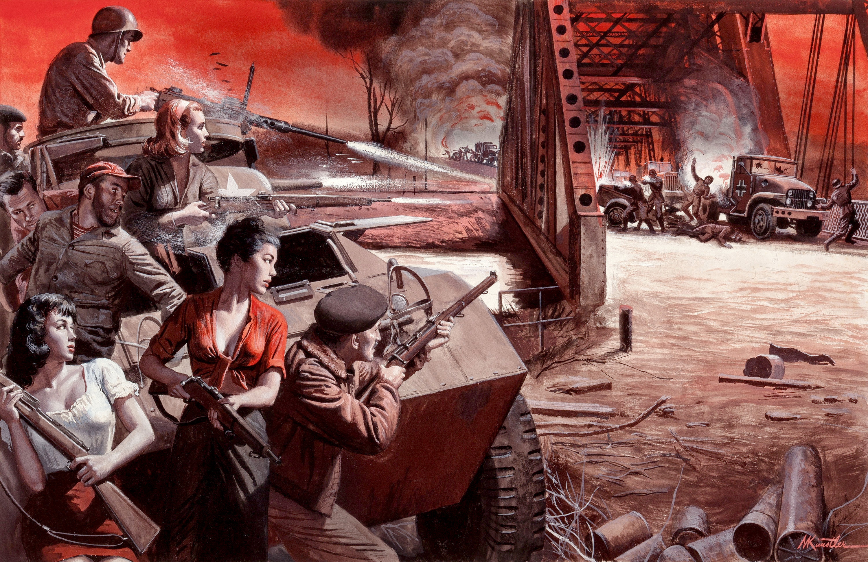 Wipe Out the 11th Panzer Division, Stag magazine, True Books Bonus story illustration, 1963.jpg