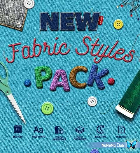Стили - GraphicRiver - Fabric Text Effects V2 - 24844852 [ASL, PSD]