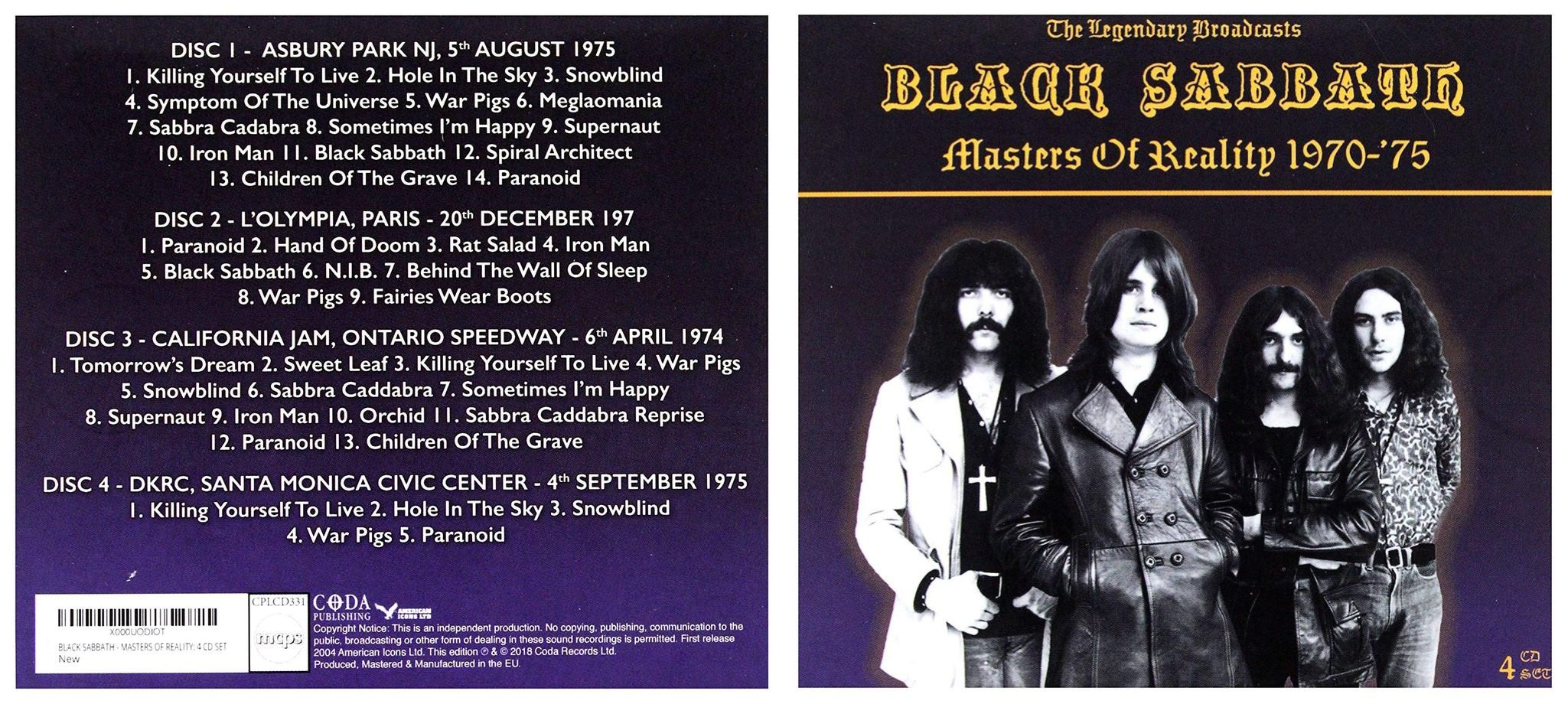 black sabbath masters of reality 1970-75: the legendary broadcasts (asbury park nj, 5th august 1975,  l'olympia, p