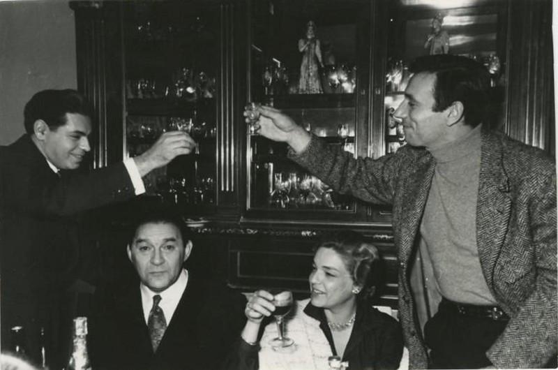 Аркадий Райкин, Леонид Утесов, Симона Синьоре и Ив Монтан. Москва, 1956г